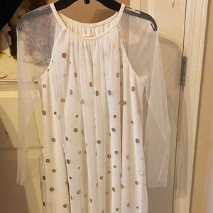 Other - White dress with white sheer overlay & gold polkas